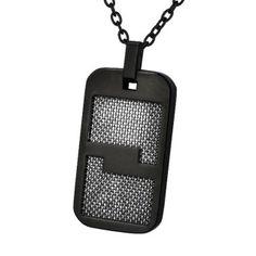 UNE SIGNATURE PARFAITE Superbe pendentif plaque noirci par ionisation qui  ressemble à un badge électronique du plus bel effet. Le motif plein qui. b45539b4664