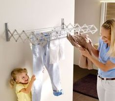 Artweger 333 RuckZuck 100 Clothes Dryer and Mounting Set, Silver Clothes Dryer, Clothes Hanger, Stair Landing, Thing 1, Laundry In Bathroom, Retro Design, Mudroom, Save Energy, Home Organization