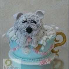 Schnauzer Dog Tea Cup Cake