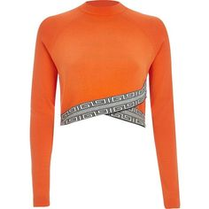 River Island Orange knitted pattern hem crop top ($30) ❤ liked on Polyvore featuring tops, orange, shirts, knitwear, sale, women, white crop top, crop top, long sleeve shirts and white top