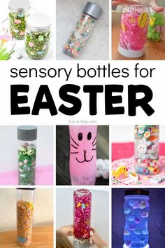 Easter sensory bottles! Tons of different ideas for themed discovery bottles for Easter. I-spy sensory bottles, bunny sensory bottles, egg sensory bottles, and more! Easter Activities For Preschool, Early Learning Activities, Preschool Lesson Plans, Sensory Activities, Preschool Activities, Sensory Bottles, Sensory Bins, Calm Down Jar, Easter Crafts