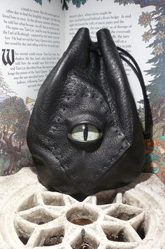 Medium Black leather bag with Green Dragon eye