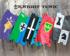 Knight Tunic Party Pack Set of Made of felt and ribbon. could also DIY Medieval Party, Medieval Costume, Vbs Themes, Party Themes, Diy Pour Enfants, Kids Castle, Roi Arthur, Knight Costume, Knight Party