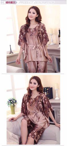 2016 donne di estate pigiama di seta set lussuoso e confortevole manicotto  del blocco freddo indumenti 83c18e3b4e3