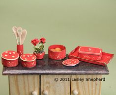 Make Red Heart Design Printable Casseroles and Serving Dishes in Dollhouse Scale