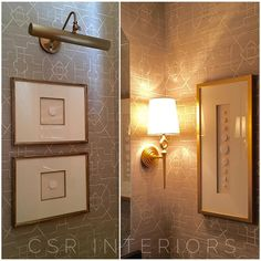 Printed (Thibaut) grasscloth makes for a gorgeous backdrop for these custom framed intaglios in this powder bath.