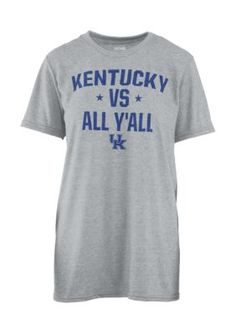 Royce Girls' Kentucky Wildcats Vs Yall Short Sleeve Tee - Gray - Xl