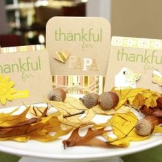Neat way to make place cards for Thanksgiving and tell the person why you are thankful for them! LOVE this want to do this with my girls this year:) Thanksgiving Place Cards, Thanksgiving Crafts, All Holidays, Holidays Halloween, Autumn Table, General Crafts, Fun Crafts, Cardmaking, Thankful