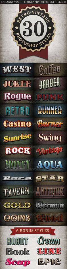 Retro - Vintage Text Styles Bundle