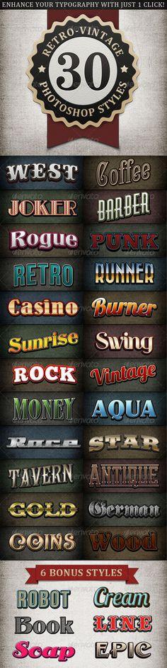 Retro - Vintage Text Styles Bundle