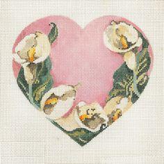 Calla Lily / Pink BG by Joy Jaurez for Fleur de Paris Product Code: JJH-6039   Hand Painted Canvas  18g, 5.5 x 5