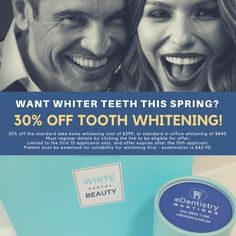 edentistry.net.au/tooth-whitening-promotion/  Want whiter teeth for Spring? 30% off tooth whitening - first 15 applicants only!