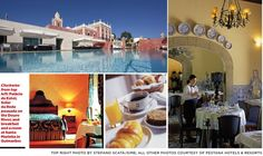 Clockwise from top left: Palácio de Estoi; Solar da Rede pousada on the Douro River; and breakfast and a room at Santa Marinha in Guimarães. Photo credits: Top right photo by Stefano Scatà/Sime; All other photos courtesy of Pestana Hotels & Resorts | Your Castle Awaits - Portugal by Pousada - by Larry Olmsted for U.S. Airways Magazine. | Cover story of the new U.S. Airways Magazine - April, 2012