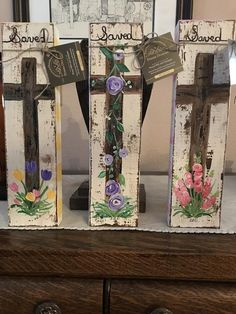 Rustic standalone floral Easter crosses Handpainted on sturdy wood Easter Paintings, Cross Paintings, Acrylic Paintings, Wood Block Crafts, Wood Crafts, Wood Blocks, Painting On Wood, Tole Painting, Block Painting