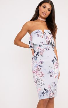 Norie Dusty Blue Floral Bandeau Midi Dress   Shop Dresses   now at PrettyLittleThing.com. Free UK delivery & returns. Order now!