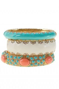 Enamel Bracelets With Turquoise and Coral