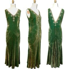 1920s/30s Silk Velvet Evening Gown with embroidery, pleats, and a drop waist typical of the time period