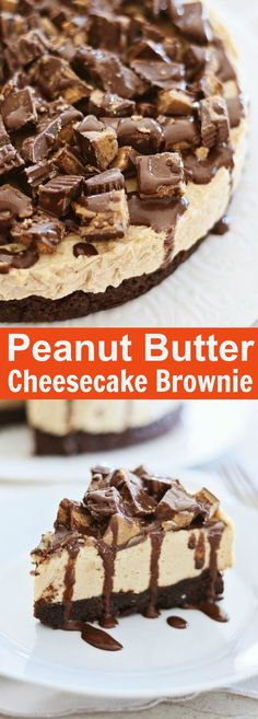 Peanut Butter Cheesecake Brownies – the best and most decadent dessert ever with deep dish peanut butter cheesecake on brownies. Amazing and easy recipe   rasamalaysia.com
