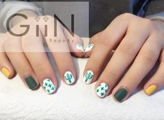 #nailart #nails #gelnails #gelish #shellac #bloomsbury #holborn #holiday #london #cactus #green #funky #nailsalon #giinbeauty #beautystudio #salon #asian