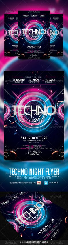 Techno Night Flyer Template. Download here : http://graphicriver.net/item/techno-night-flyer-template/3942600 #techno #dubstep #electro