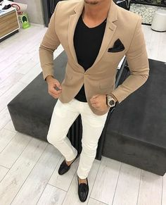 Quality 2017 Latest Coat Pant Design Brown khaki Men Suit Casual Blazer Skinny Tuxedo Custom 2 Piece Jacket Style Suits Terno Masculino with free worldwide shipping on AliExpress Mobile Casual Blazer, Casual Outfits, Khaki Blazer, Blazer Suit, Mode Swag, Herren Outfit, Fashion Mode, Empire Fashion, Ootd Fashion