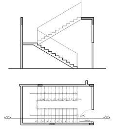 Projeto de escada, planta baixa e corte