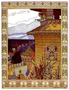 "Ivan Bilibin, illustration from a fairy tale ""White duck""."