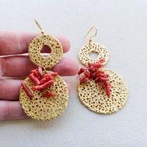 Orecchini ganci argento 925 dischi con corallo rosso