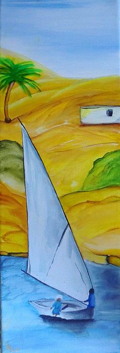 """""""BY THE NILE"""" - Acryllic on Canvas, 20x60 cm - SOLD!"""