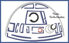 R2D2 from Star Wars The Force Awakens Sketch Digital Embroidery Machine Design File 4x4 5x7 6x10 by Thanks4TheAdventure on Etsy