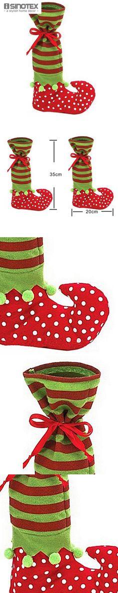 1 PCS Christmas Sock Candy Present Bag Polka Dot Design Wine Bottle Bags Xmas Home Decor $5.98