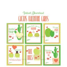 Cactus Valentines Day Cards, Succulant, Love, Instant Download Cards, Kids Valentines, Printable Valentines Cards, Punny Cards