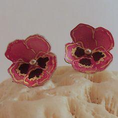 Pink Pansy Stud Earrings