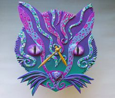 Purr-ple Cat Clock or Wall Art Sculpture in Gold and Purple Crazy Stripe Polymer Clay