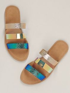 To find out about the Metallic Snakeskin Triple Band Flat Slide Sandals at SHEIN, part of our latest Slippers ready to shop online today! Shoes Flats Sandals, Strappy Flats, Cute Sandals, Slide Sandals, Cute Shoes, Leather Sandals, Me Too Shoes, Aldo Shoes, Dream Shoes