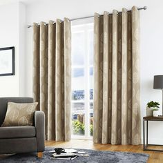 Skandi leaves feature across these stunning curtains. A subtle metallic yarn has also been used to create extra effect and the clever use texturing in the background ensure these curtains will be the centrepiece of any room. Produced with an eyelet hea