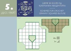 Schemes for crochet granny Squares blouses