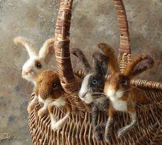 FELT BUNNY ART~~~~Felted rabbits by Sara Renzulli via Sara Renzulli AMAZING!