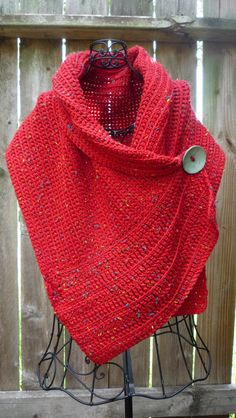 Red wrap with turquoise colored big button by redbootyarnworks, $50.00