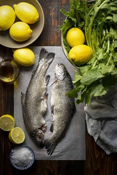 This easy recipe for simple broiled trout with dandelion greens can be ready in less than 30 minutes and is ideal for a healthy and quick weeknight dinner. Raw Food Recipes, Fish Recipes, Seafood Recipes, Rainbow Trout Recipes, Fish And Chicken, Seafood Market, Baked Fish, Fish And Seafood, Food Design