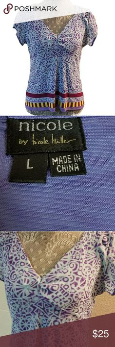 "Nicole by NICOLE MILLER lavendar vneck lined top Nicole by NICOLE MILLER lavendar vneck lined top, EUC   Measurements are approximate  21"" top to bottom hem  36 bust Nicole by Nicole Miller Tops Blouses"