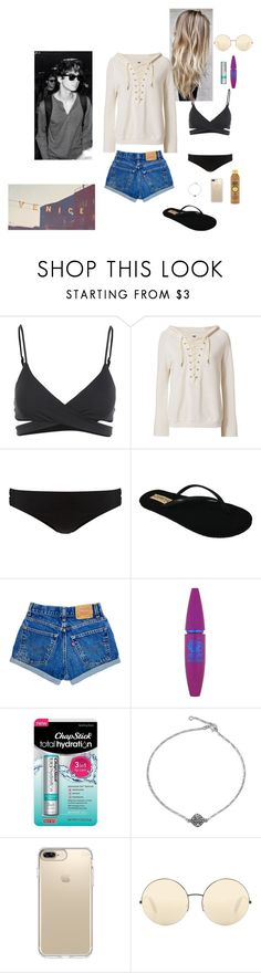 """Beach Day with Calum Hood"" by fburkhardt ❤ liked on Polyvore featuring L*Space, NSF, Phase Eight, Flojos, Maybelline, Chapstick, Bling Jewelry, Speck, Victoria Beckham and Forever 21"