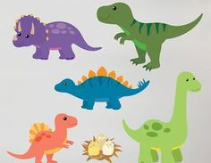 Children's Dinosaur Wall Sticker Set by Oakdene Designs, the perfect gift for Explore more unique gifts in our curated marketplace. Giant Dinosaur, Dinosaur Images, Dinosaur Art, Dinosaur Stencil, Cute Dinosaur, Dinosaur Wall Decals, Kids Wall Decals, Vinyl Decals, Contemporary Wall Stickers