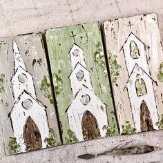 Church Art, Church Painting on wood, textured art, original art by Haley Bush Diy Painting, Painting On Wood, Painting & Drawing, Diy Canvas, Canvas Art, Farmhouse Paintings, Church Pictures, Guache, Pallet Art