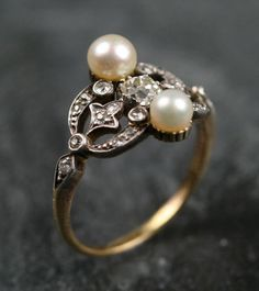 Victorian Diamond Pearl Engagement Ring