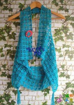 Coletes em crochê com gráfico - Katia Ribeiro Moda e Decoração Handmade