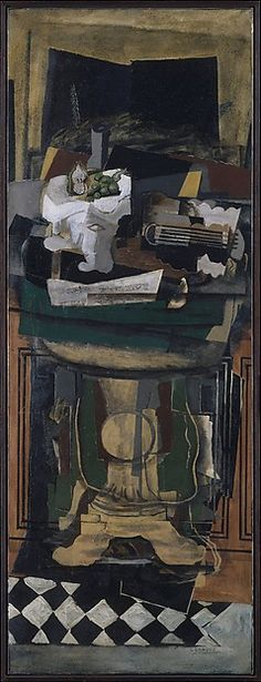 A guéridon is a small side table that was popular in France during the court of Louis XIV. Displaying both Cubist and Neoclassical elements, this painting, with its somber tones and tactile surface, is typical of Braque's work when he returned to painting after being seriously injured during World War I