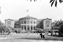 The German-occupied Parliament of Norway Building in 1941