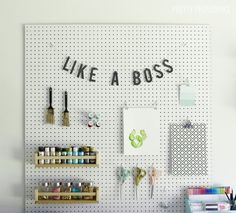 Craft room pegboard organization that is pretty and functional!