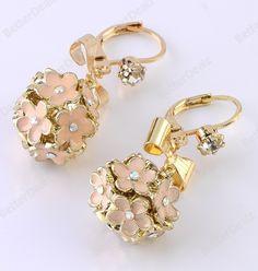 1 Pair Enamel Flower Bow Crystal Ball Dangel Ear Golden Earring Fashion Korean